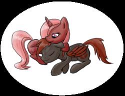Size: 1300x1000   Tagged: safe, artist:stridah, oc, oc:cherry sundae, oc:crimson wings, pony, fallout equestria, fallout equestria: broken bonds, cuddling, fanfic art