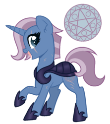 Size: 800x900 | Tagged: armor, artist:palerose522, clothes, eye scar, female, hoof shoes, magical lesbian spawn, mare, next generation, oc, oc:commander arcane, oc only, offspring, open mouth, parents:tempestrix, parent:tempest shadow, parent:trixie, pony, raised hoof, safe, scar, shoes, simple background, solo, transparent background, unicorn