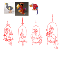 Size: 1000x769   Tagged: safe, philomena, bird, parrot, phoenix, pony, aladdin, comparison, concept art, dodo, female, iago, perch, simple background, white background
