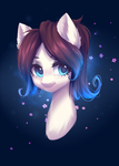 Size: 1223x1716 | Tagged: safe, artist:hikerumin, oc, oc only, oc:ice energy, pony, bust, commission, femboy, looking at you, male, portrait, smiling, solo