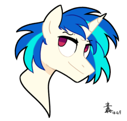 Size: 1570x1486 | Tagged: safe, artist:yaaaco, dj pon-3, vinyl scratch, pony, unicorn, bust, male, portrait, record scrape, rule 63, simple background, smiling, smirk, solo, stallion, white background