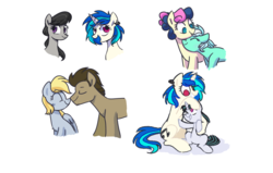 Size: 1261x803 | Tagged: artist:yaaaco, bon bon, derpy hooves, dj pon-3, doctorderpy, doctor whooves, female, headcanon, lesbian, lyrabon, lyra heartstrings, magical lesbian spawn, male, next generation, oc, octavia melody, offspring, parent:octavia melody, parents:scratchtavia, parent:vinyl scratch, safe, shipping, straight, sweetie drops, time turner, vinyl scratch