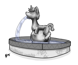 Size: 3909x3245 | Tagged: artist:dombrus, concrete, fountain, inanimate tf, oc, oc:socks, petrification, pony, safe, statue, transformation