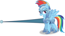 Size: 5737x3181 | Tagged: absurd res, armor, artist:frownfactory, confident, grin, helmet, jousting outfit, lance, pegasus, pony, rainbow dash, safe, simple background, smiling, solo, svg, .svg available, the crystal empire, transparent background, vector, weapon, wings