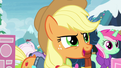 Size: 1280x720 | Tagged: applejack, best gift ever, clothes, earth pony, female, mare, minty bubblegum, pony, safe, scarf, screencap, star hunter, unicorn