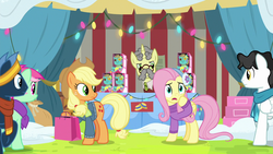 Size: 1280x720 | Tagged: applejack, best gift ever, christmas, christmas lights, earth pony, female, flim, fluttershy, holiday, holly the hearths warmer doll, male, mare, minty bubblegum, pegasus, pony, safe, screencap, stallion, star hunter, starry eyes (character), unicorn