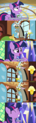 Size: 1279x4313 | Tagged: safe, artist:thejboy88, edited screencap, screencap, discord, twilight sparkle, alicorn, draconequus, pony, discordant harmony, once upon a zeppelin, comic, female, fluttershy's cottage, implied fluttershy, male, mare, screencap comic, twilight sparkle (alicorn), twilight's castle