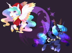 Size: 1944x1440 | Tagged: safe, artist:djspark3, princess celestia, princess luna, alicorn, pony, animal costume, christmas, clothes, colored wings, costume, dappled, duo, duo female, female, holiday, mare, multicolored wings, reindeer costume, royal sisters, santa costume