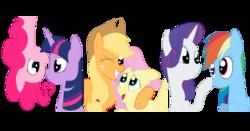 Size: 3902x2043 | Tagged: safe, artist:squipycheetah, applejack, fluttershy, pinkie pie, rainbow dash, rarity, twilight sparkle, alicorn, earth pony, pegasus, pony, unicorn, appleshy, boop, cute, fangs, female, flutterbat, happy, hug, lesbian, mane six, mare, noseboop, raridash, shipping, simple background, smiling, transparent background, twilight sparkle (alicorn), twinkie, upside down