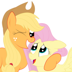 Size: 3000x3000 | Tagged: safe, artist:squipycheetah, applejack, fluttershy, earth pony, pegasus, pony, alternate color palette, applejack's hat, appleshy, cowboy hat, cute, fangs, female, flutterbat, freckles, hat, hug, lesbian, looking down, looking up, mare, one eye closed, open mouth, part of a set, raised hoof, shipping, simple background, smiling, spread wings, stetson, transparent background, wings, wink