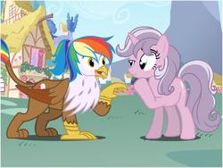 Size: 800x600 | Tagged: safe, artist:flash equestria photography, oc, oc only, oc:quartz horn, oc:rainbow feather, griffon, pony, unicorn, friends, gesture, interspecies offspring, magical lesbian spawn, offspring, parent:gilda, parent:rainbow dash, parents:gildash