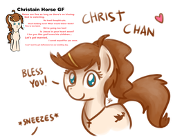 Size: 1280x1024 | Tagged: safe, artist:anonymous, artist:otherdrawfag, artist:sugar morning, oc, oc:christ chan, dove, earth pony, pony, christianity, cross, female, girlfriend, hairpin, heart, ideal gf, jewelry, mare, meme, necklace, ponies, ponified, religion, religious focus, simple background, solo, waifu