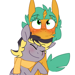Size: 1280x1280 | Tagged: safe, artist:kryptchild, snails, oc, oc:aero, pegasus, pony, aeroshell, blushing, canon x oc, clothes, colt, cute, gay, glitter shell, hug, male, offspring, offspring shipping, parent:derpy hooves, parent:oc:warden, parents:canon x oc, parents:warderp, scarf, shipping, simple background, smiling, snuggling, white background
