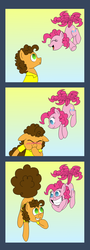 Size: 616x1720 | Tagged: artist:crazynutbob, big grin, blowing, cheesepie, cheese sandwich, comic, female, floating, gradient background, grin, hover, inflatable tail, inflation, male, no pupils, pinkie pie, pony, puffy cheeks, red face, safe, shipping, smiling, straight, tail, tailcopter