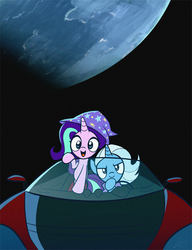 Size: 540x704 | Tagged: accessory swap, artist:dori-to, c:, car, clothes, driving, duo, earth, elon musk, female, glare, hat, mare, open mouth, orbit, planet, pony, roadster, rocket, safe, smiling, smirk, song in the comments, space, spacex, starlight glimmer, starman, tesla, tesla roadster, toy interpretation, trixie, trixie's hat, trixie's rocket, unicorn