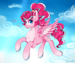 Size: 2365x2000 | Tagged: safe, artist:mailner, pinkie pie, pegasus, pony, leak, spoiler:g5, cloud, colored hooves, cute, female, flying, g5, heart, looking at you, mare, pegasus pinkie pie, pinkie pie (g5), ponytail, race swap, redesign, sky, smiling, solo, tongue out