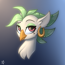 Size: 2200x2200 | Tagged: safe, artist:starfall-spark, captain celaeno, parrot pirates, my little pony: the movie, beauty mark, bust, celaenobetes, cute, dreamworks face, ear piercing, earring, female, gradient background, looking at you, missing accessory, piercing, pirate, portrait, simple background, solo