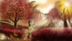 Size: 2440x1373 | Tagged: safe, artist:qbellas, fluttershy, pegasus, pony, crepuscular rays, female, forest, lens flare, looking at something, looking up, mare, raised hoof, solo, tree, walking
