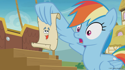 Size: 1600x900 | Tagged: safe, edit, edited screencap, screencap, rainbow dash, pegasus, pony, grannies gone wild, spoiler:s08, crossover, dora the explorer, female, gasp, map, mare, rainbow dash reading a scroll, shocked, solo, wing hands, wing hold