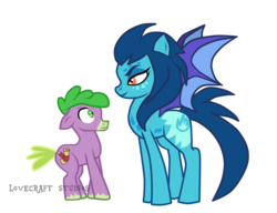 Size: 910x700 | Tagged: safe, artist:mlp-lovecraftstudios, princess ember, spike, bat pony, earth pony, pony, colt, duo, female, height difference, male, mare, ponified, ponified ember, ponified spike, simple background, species swap, transparent background, watermark