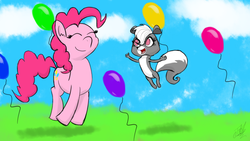Size: 1280x720 | Tagged: safe, artist:tomazii7, pinkie pie, skunk, animal, balloon, crossover, female, littlest pet shop, pepper clark, smiling