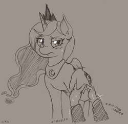 Size: 1006x978 | Tagged: safe, artist:i am nude, princess luna, alicorn, human, pony, female, hand, holding hooves, hoof hold, lineart, mare, offscreen character, pov, sketch, solo focus, sweat, traditional art, trembling
