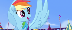 Size: 1920x804 | Tagged: safe, screencap, rainbow dash, pegasus, pony, my little pony: the movie, cute, dashabetes, female, flying, mare, solo