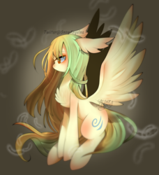 Size: 800x876 | Tagged: safe, artist:snow angel, oc, oc only, pegasus, pony, chest fluff, female, green mane, long mane, mare, orange eyes, pale coat, solo
