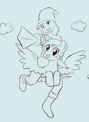 Size: 733x1000 | Tagged: safe, artist:empyu, derpy hooves, human, pony, 30 minute art challenge, flying, human ponidox, humanized, humans riding ponies, riding, self ponidox