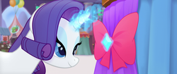 Size: 1920x804 | Tagged: safe, screencap, rarity, unicorn, my little pony: the movie, bow, gem, glowing horn, lidded eyes, magic, magic aura, ribbon