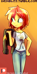 Size: 407x823 | Tagged: safe, artist:manic-the-lad, sunset shimmer, human, equestria girls, a dash of everything, alternate hairstyle, clothes, female, jacket, jewelry, necklace, shirt, short hair, simple background, solo, t-shirt