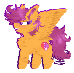 Size: 890x879 | Tagged: safe, artist:vanillaswirl6, scootaloo, pegasus, pony, cheek fluff, chest fluff, cutie mark, cutie mark crusaders, dock, ear fluff, female, fluffy, hoof fluff, mare, older, open mouth, part of a set, raised hoof, sharp teeth, signature, simple background, solo, spread wings, standing, teeth, the cmc's cutie marks, transparent background, wings