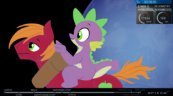 Size: 3217x1793 | Tagged: artist:gsphere, big macintosh, dragon, dragons riding ponies, duo, earth pony, male, parody, pony, riding, safe, space, spacex, spike, stallion