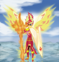 Size: 1231x1300 | Tagged: safe, artist:featherbook, sunset shimmer, human, fanfic:friendship souls, armor, bleach (manga), crossover, cutie mark, fanfic, fanfic art, fiery shimmer, fiery wings, fire, fire hair, flaming sword, ice, looking at you, mane of fire, shield, smiling, smirk, sword, weapon, wings