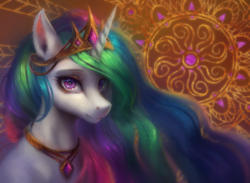 Size: 1232x902   Tagged: safe, artist:orchidpony, princess celestia, alicorn, pony, beautiful, bust, crown, female, horn, jewelry, looking at you, mare, necklace, praise the sun, purple eyes, regalia, royalty, solo, tiara, white fur