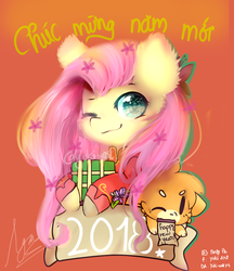 Size: 694x802 | Tagged: safe, artist:yuki-artyt, fluttershy, pony, chibi, crossover, one eye closed, present, solo, vietnamese, vietnamese new year, wink