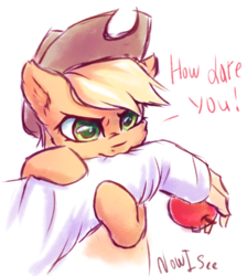 Size: 806x901 | Tagged: :3, angry, apple, applecat, applejack, arm, artist:inowiseei, behaving like a cat, bipedal, biting, cowboy hat, cute, dialogue, disembodied arm, disembodied hand, ear fluff, earth pony, ear tufts, featured image, female, food, glare, hand, hat, hug, human, jackabetes, looking at you, madorable, mare, missing freckles, nom, offscreen character, pony, safe, silly, silly pony, simple background, solo focus, sweet dreams fuel, text, that pony sure does love apples, white background, who's a silly pony