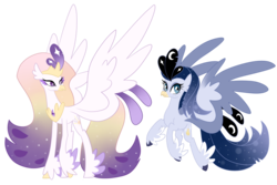 Size: 1024x683 | Tagged: artist:theroyalartofna, classical hippogriff, cousins, duo, feathered fetlocks, female, hippogriff, hybrid, interspecies offspring, magical lesbian spawn, my little pony: the movie, oc, oc only, offspring, parent:princess celestia, parent:princess luna, parent:princess skystar, parent:queen novo, parents:lustar, parents:novolestia, safe, simple background, transparent background