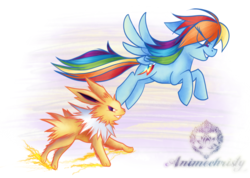 Size: 1024x731   Tagged: safe, artist:animechristy, rainbow dash, jolteon, pegasus, pony, crossover, female, flying, mare, multicolored hair, pokémon, smiling