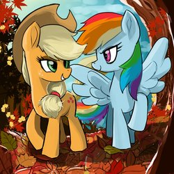 Size: 1000x1000 | Tagged: safe, artist:bojack_mlplove, applejack, rainbow dash, earth pony, pegasus, pony, fall weather friends, appledash, autumn, cowboy hat, duo, female, hat, leaves, lesbian, looking at each other, running of the leaves, shipping