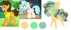 Size: 1266x545 | Tagged: safe, artist:angelstar000, cheese sandwich, coco pommel, oc, oc:bulletin board, earth pony, pony, cheesecoco, color palette, female, male, offspring, parent:cheese sandwich, parent:coco pommel, parents:cheesecoco, shipping, simple background, straight, white background