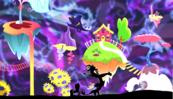 Size: 2000x1155   Tagged: safe, artist:chopsticks, edit, edited screencap, screencap, discord, fluttershy, pony, make new friends but keep discord, chaos, crossover, discord's house, female, male, rick and morty, silhouette, the discord zone