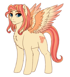 Size: 664x737   Tagged: safe, artist:miamaha, oc, oc:eventide twister, pegasus, pony, chest fluff, colored wings, eyeshadow, female, fluffy, frown, gradient wings, leg fluff, looking at you, makeup, mare, multicolored wings, offspring, parent:quarter hearts, parent:sunset shimmer, parents:sunsethearts, simple background, solo, spread wings, white background, wings