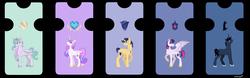 Size: 10576x3288 | Tagged: safe, artist:sohoneyle, oc, oc:night shadow, oc:silver shield, oc:star velvet, oc:sun soul, alicorn, pegasus, pony, unicorn, alicorn oc, base used, offspring, parent:flash sentry, parent:king sombra, parent:princess celestia, parent:princess luna, parent:royal guard, parent:twilight sparkle, parents:flashlight, parents:guardlestia, parents:lumbra