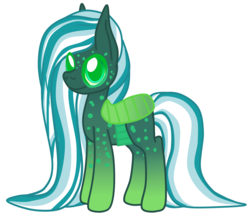 Size: 1285x1150 | Tagged: artist:magnesium--oxide, changeling, female, hybrid, interspecies offspring, magical lesbian spawn, oc, oc:beetle juice, offspring, parent:oc:fluffle puff, parent:queen chrysalis, parents:canon x oc, parents:chrysipuff, safe, simple background, solo, white background