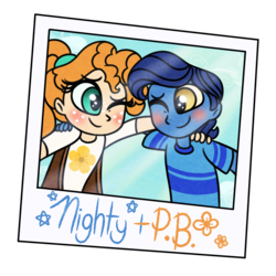 Size: 1000x1000 | Tagged: safe, artist:carouselunique, night light, pear butter, equestria girls, blushing, equestria girls-ified, female, male, pearlight, pearlight preserves, photo, shipping, teenager