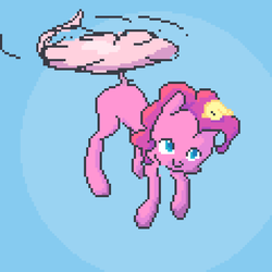 Size: 1200x1200 | Tagged: abstract background, artist:mooph, earth pony, pinkiecopter, pinkie pie, pixel art, pony, safe, solo, tailcopter