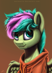 Size: 2000x2800 | Tagged: artist:syntaxartz, bust, commission, gradient background, male, oc, oc:gusty breeze, oc only, pegasus, pony, portrait, safe, stallion, ych result