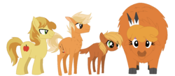 Size: 1226x536 | Tagged: artist:thepegasisterpony, base used, bisony, braeburn, braeheart, cloven hooves, earth pony, family, female, hybrid, interspecies, interspecies offspring, little strongheart, male, missing accessory, oc, oc:amber apple, oc:archer apple, offspring, older, parent:braeburn, parent:little strongheart, parents:braeheart, pony, safe, shipping, simple background, stallion, straight, transparent background