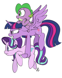 Size: 800x1000 | Tagged: safe, artist:emositecc, spike, starlight glimmer, twilight sparkle, alicorn, dragon, pony, unicorn, carrying, dragons riding ponies, female, floppy ears, flying, grin, holding a pony, mare, riding, simple background, smiling, spike riding twilight, spread wings, transparent background, trio, twilight sparkle (alicorn), wings, worried